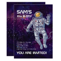 Watercolor Astronaut in Space Birthday Invitation