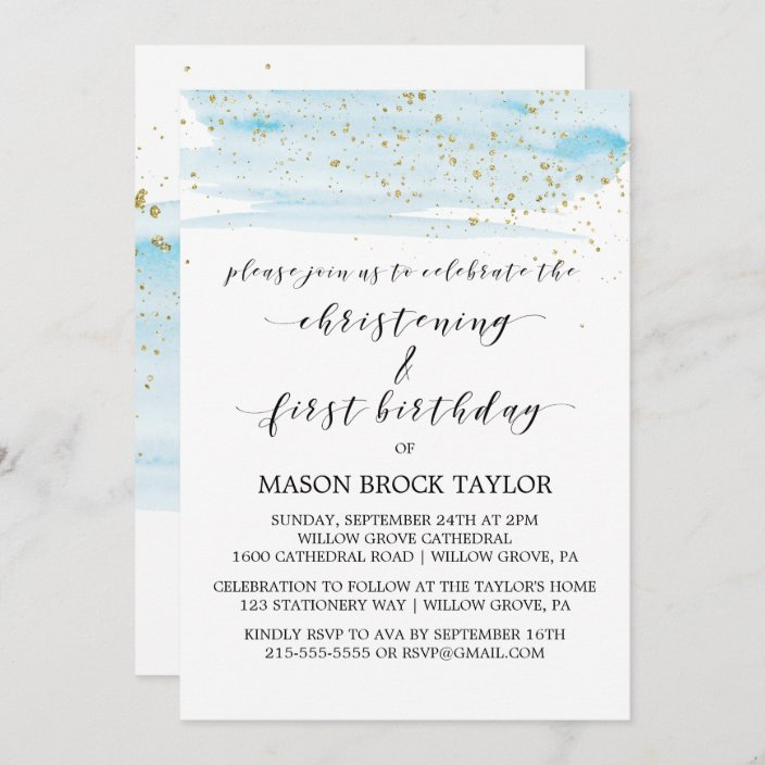 watercolor blue gold christening 1st birthday invitation zazzle com