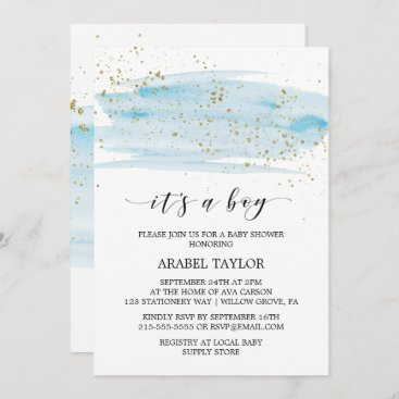 Watercolor Blue & Gold It's A Boy Baby Shower Invitation