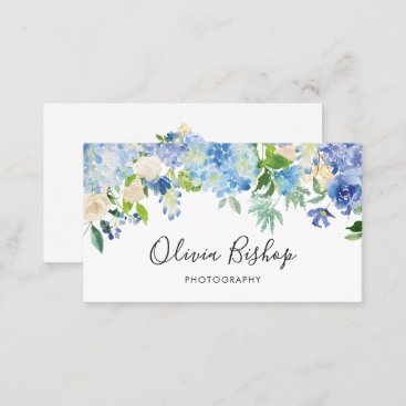 Watercolor Blue Hydrangeas | Floral Business Card