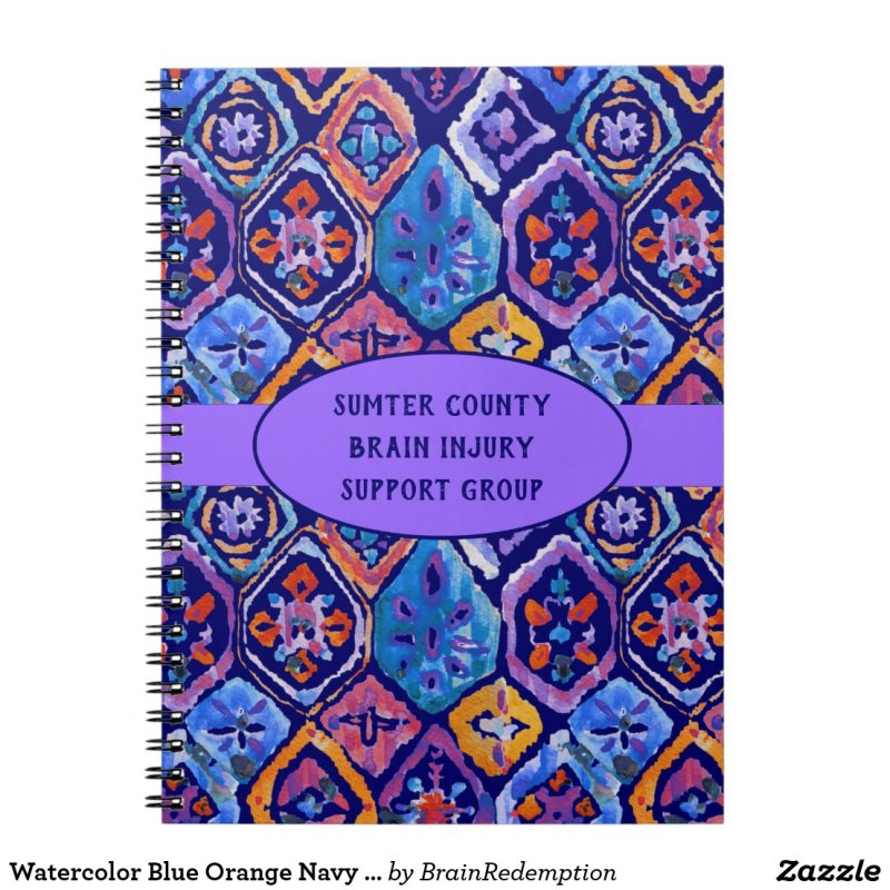 Watercolor Blue Orange Navy Ikat Pattern Notebook