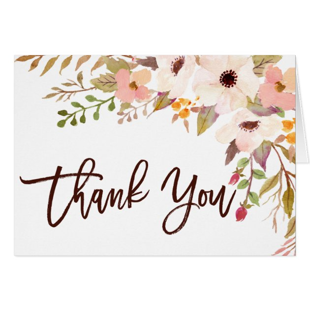 Watercolor Bohemian Flowers Thank You Card Zazzle