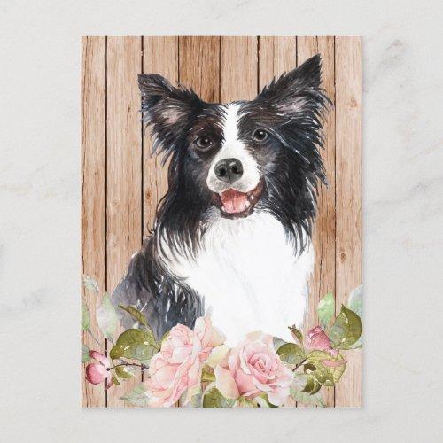 Watercolor Border Collie & Flowers Postcard