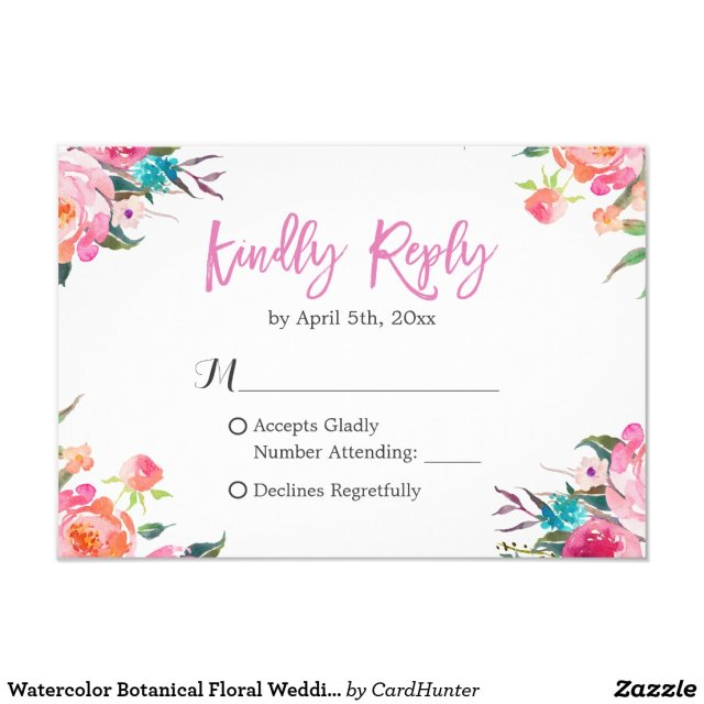Watercolor Botanical Floral Wedding RSVP Response