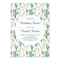 Watercolor Cactus and Llama Birthday Fiesta Card