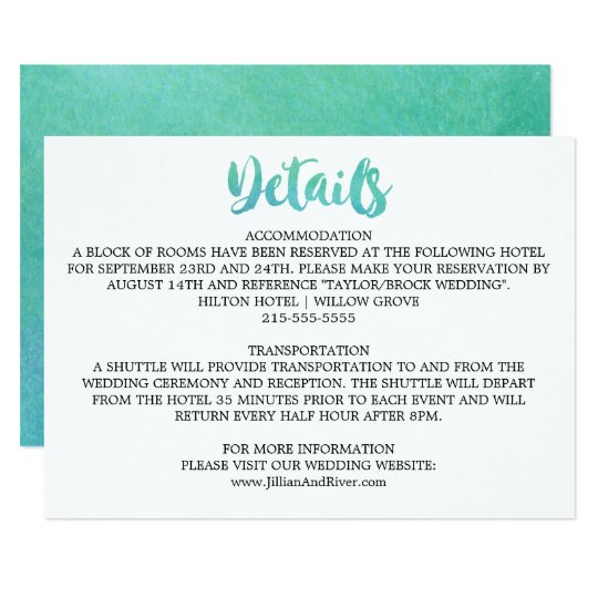 Watercolor Calligraphy Destination Wedding Details Card