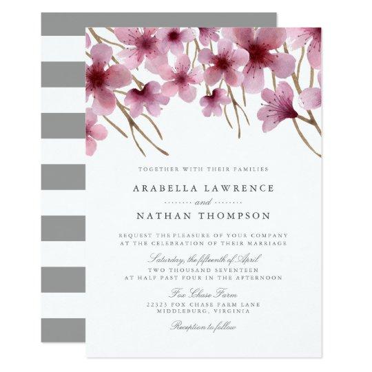 Watercolor Cherry Blossoms Wedding Invitation