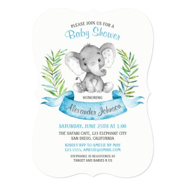 Watercolor Elephant Boy Baby Shower Card
