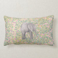 Watercolor Elephant Flowers Gold Glitter Lumbar Pillow