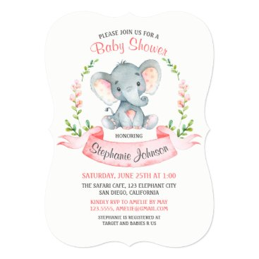 Watercolor Elephant Girl Baby Shower Card