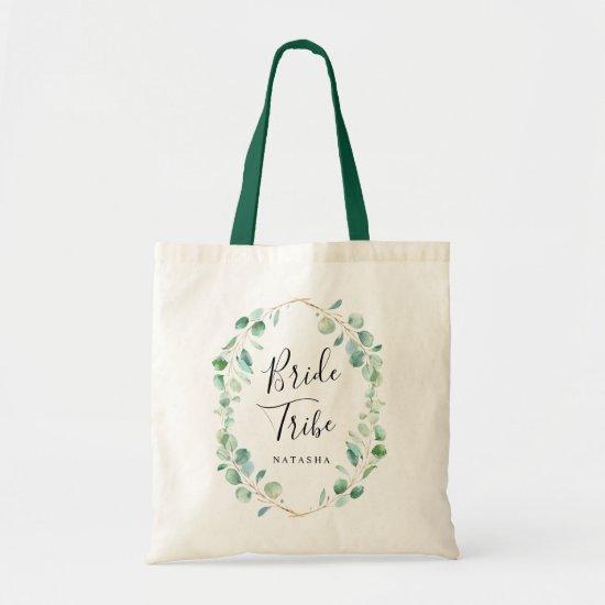 Watercolor Eucalyptus Greenery Bride Tribe Tote Bag