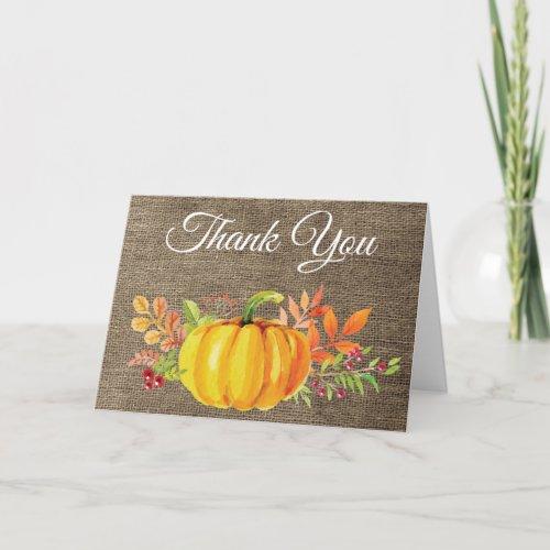 Watercolor Fall Pumpkin Burlap Thank You Card