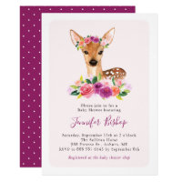 Watercolor Fawn Floral Pink Baby Shower Invitation