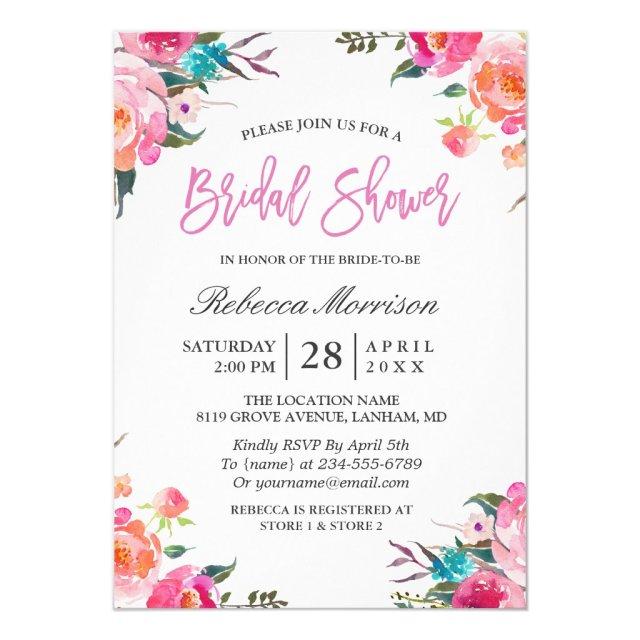 Watercolor Floral Botanical Wreath Bridal Shower