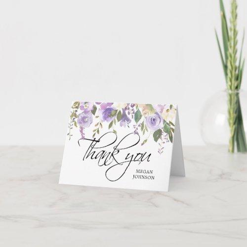 Watercolor Floral Lilac Bridal WEDDING Thank You