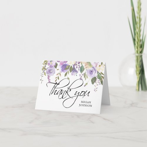 Watercolor Floral Lilac Bridal WEDDING Thank You