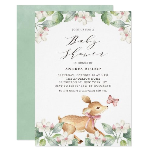 Watercolor Floral Woodland Baby Deer Baby Shower Invitation