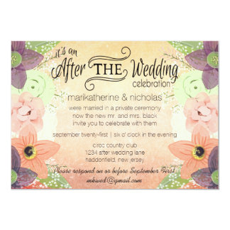 Watercolor Flowers After Wedding Invitations