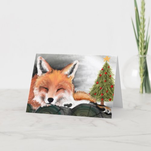 Watercolor Fox Christmas Card