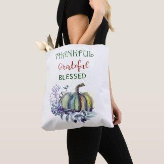 Watercolor Green and Blue Pumpkin Tote Bag