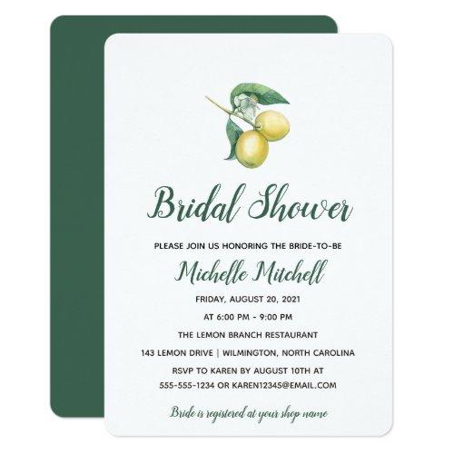 Watercolor Lemon Tree Branch | Bridal Shower Card