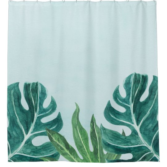 watercolor monstera leaves tropical shower curtain zazzle com