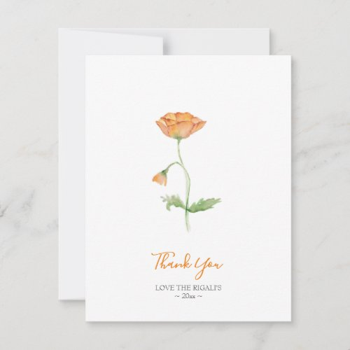 Watercolor Orange Poppies Thank You Note Holiday Card