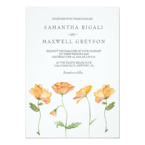 Watercolor Orange Poppies Wedding Invitation
