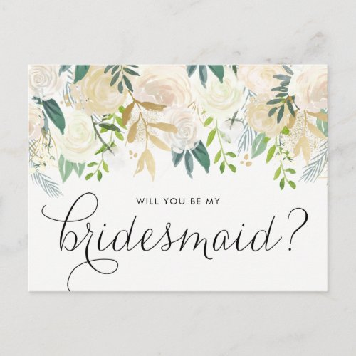 Watercolor Pale Peonies Will You Be My Bridesmaid Invitation Postcard