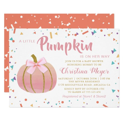 Watercolor Pink Little Pumpkin Baby Shower Invitation