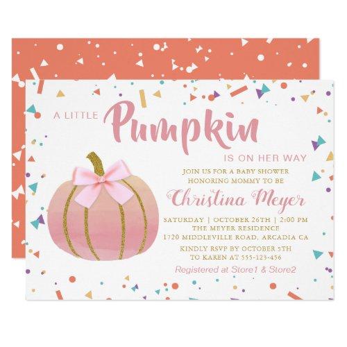 Watercolor Pink Little Pumpkin Baby Shower Invitation