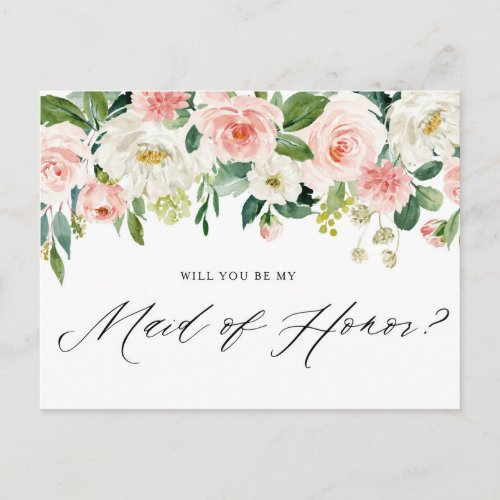 Watercolor Pink Peach Florals Be My Maid of Honor Invitation Postcard