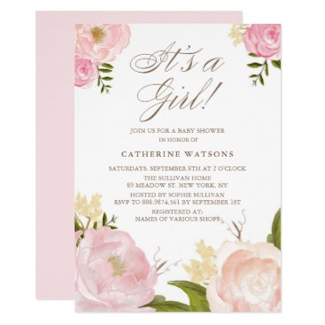 Watercolor Pink Peonies It's a Girl Baby Shower Card