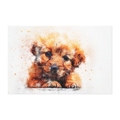 Watercolor Puppy Canvas Print