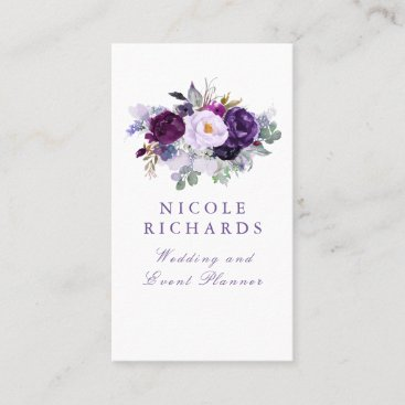 Watercolor Purple Floral Elegant Bohemian Business Card