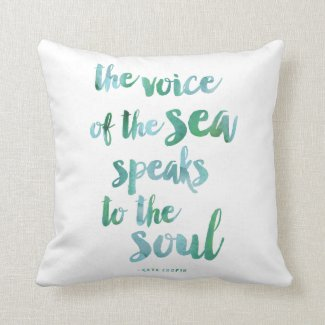 Watercolor Sea Quote Throw Pillow