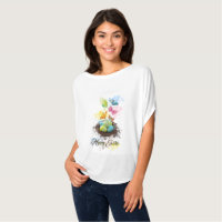 Watercolor Splash Easter Eggs Nest & Butterflies T-Shirt