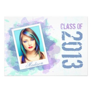 Watercolor Splash Graduation Flat Card