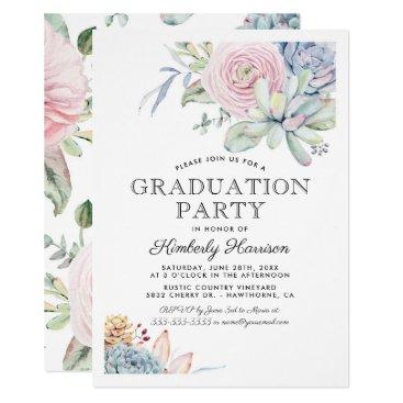 Watercolor Succulent Floral Graduation Party Card