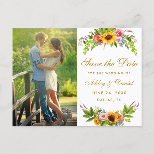 Watercolor Sunflower Floral Gold Save The Date Invitation Postcard