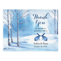 Watercolor Trees Rabbits Winter Wedding Thank You Postcard