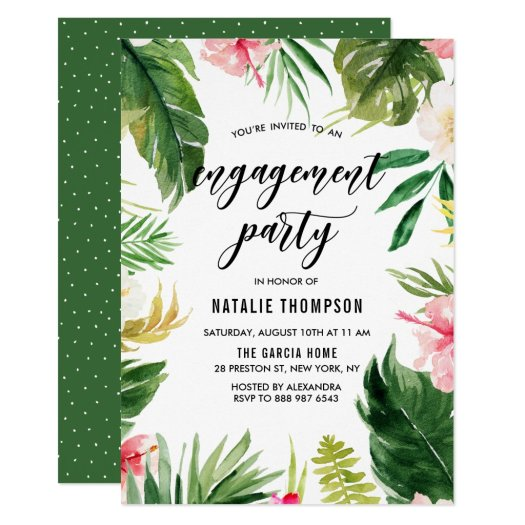 Watercolor Tropical Floral Frame Engagement Party Invitation