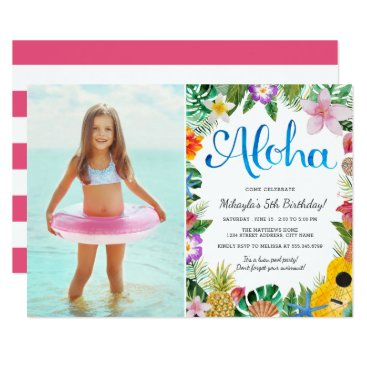 Watercolor Tropical Luau | Photo Birthday Party Invitation