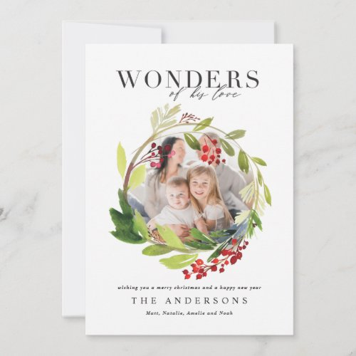 Watercolor winter wreath wonders of his love thank you card