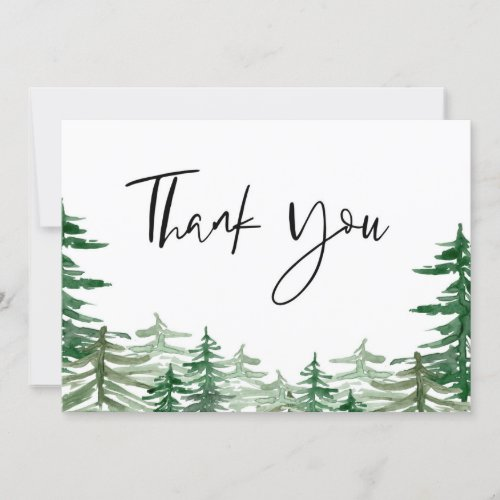 Watercolor Woodland Forest Wedding Thank You Card