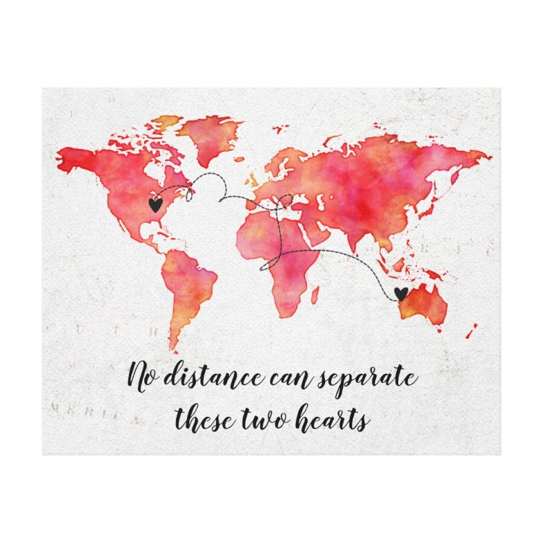 Watercolor World Map 2 Hearts Connected Canvas Print