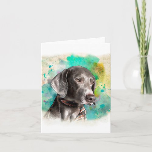 WATERCOLOUR WEIMARANER NOTE CARD WITH ENVELOPE