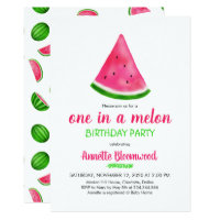 Watermelon Pattern Summer Cool Birthday Party Card