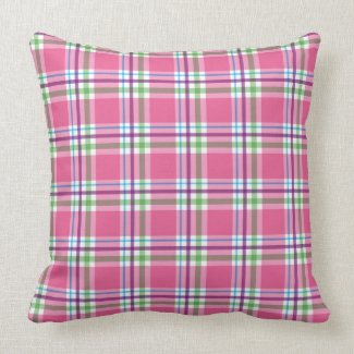 Watermelon Pink Green Aqua Purple Plaid Decor Throw Pillows