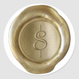 Wax Seal Monogram - Gold - Script $ - Round Stickers